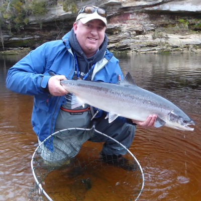 Ron Sutherland with a 13 lb Spring fish from Scur pool on Meads beat, Darnaway, River Findhorn.