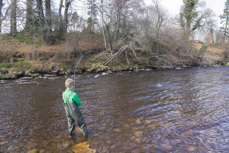 Maks Materek hooks a fish in Roan Pool, Altyre Estate, River Findhorn