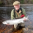 Ian Neale looking delighted with his first Spring salmon of the season, 13 lbs. from Soldier's Hole Pool on Altyre Estate, River Findhorn