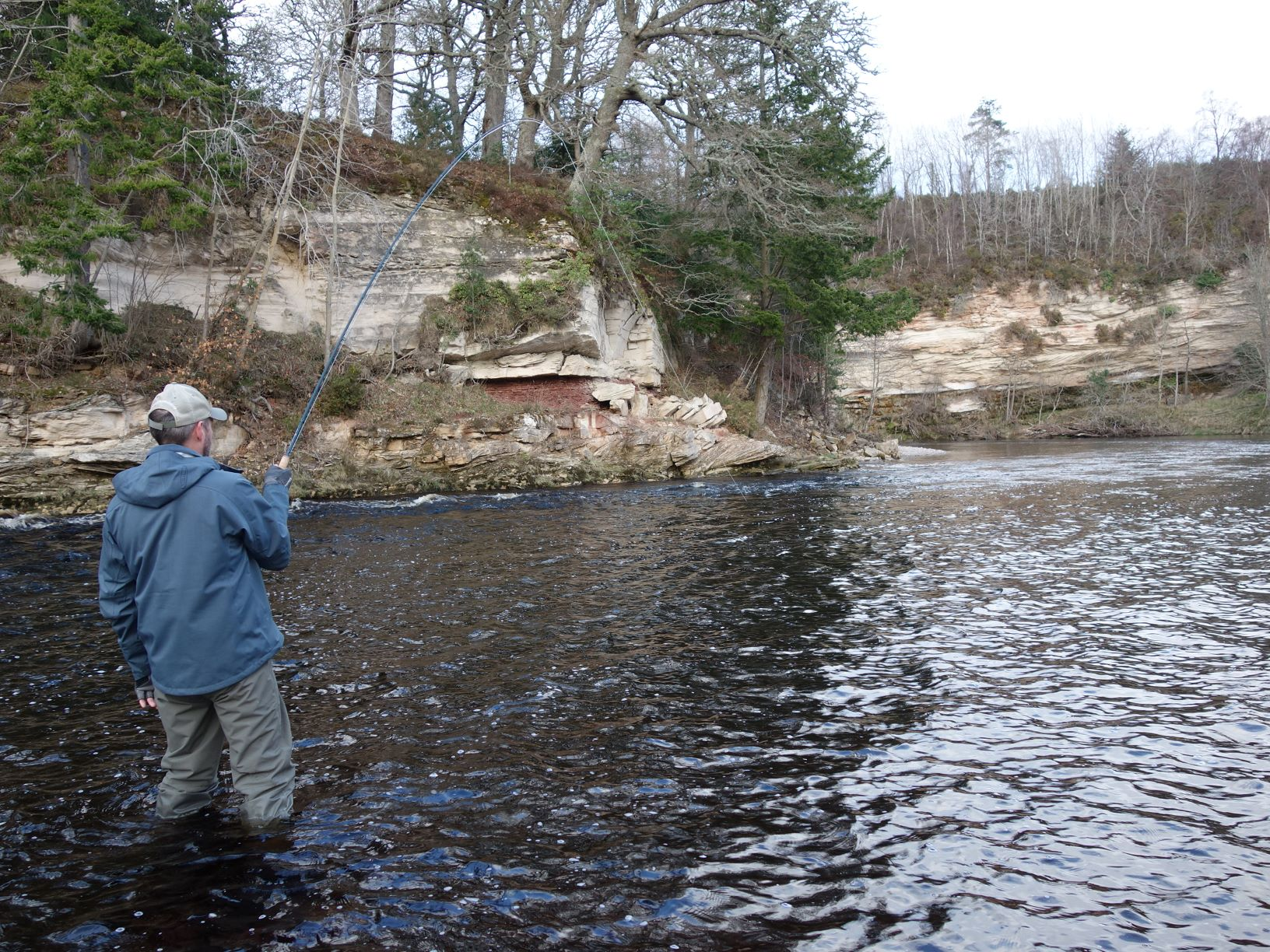 """Fish On"" in the Scur Pool, Altyre Estate, River Findhorn"