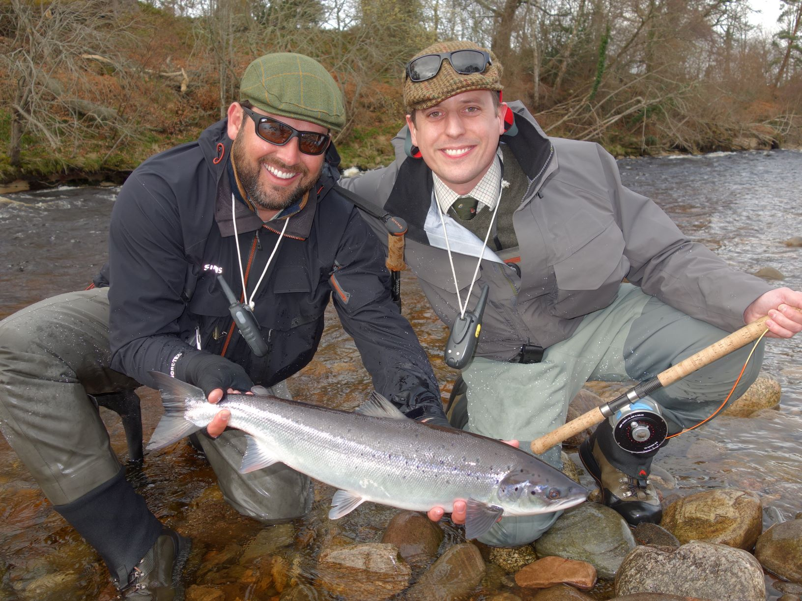 Eugene Burzler & Guy Hemur, with his first salmon of the season, of around 8 lbs. from the Roan Pool, Altyre Estate, River Findhorn