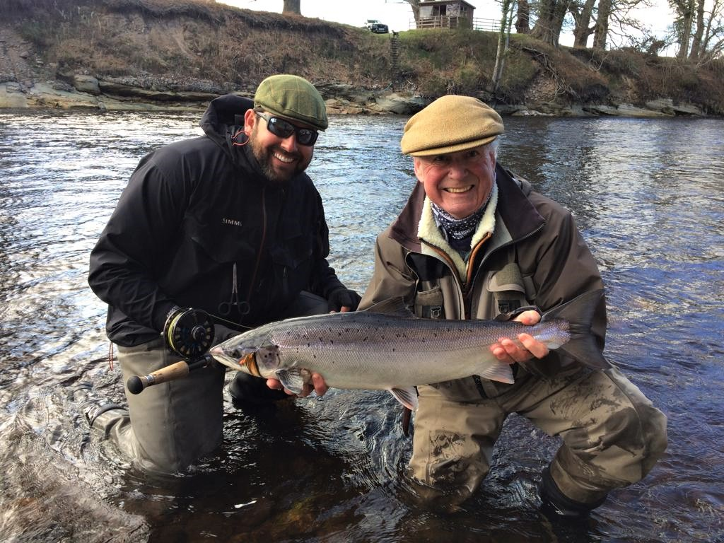 Eugene Burzler looking very happy with his first salmon of the season of around 8 lbs. from Roan Pool, Altyre Estate, River Findhorn