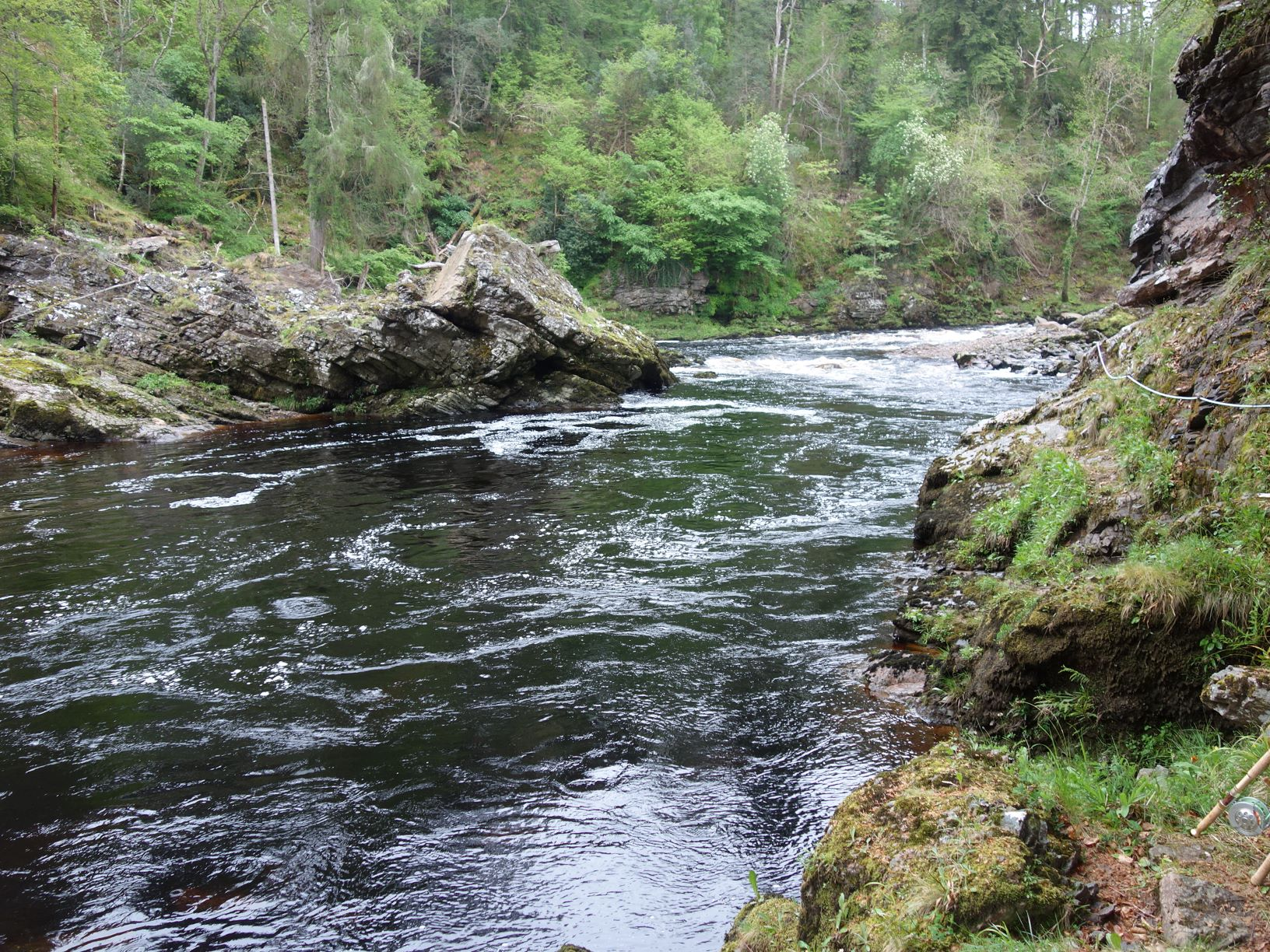 Looking up at Whirling Hole Pool, Upper Home Beat, Darnaway, River Findhorn