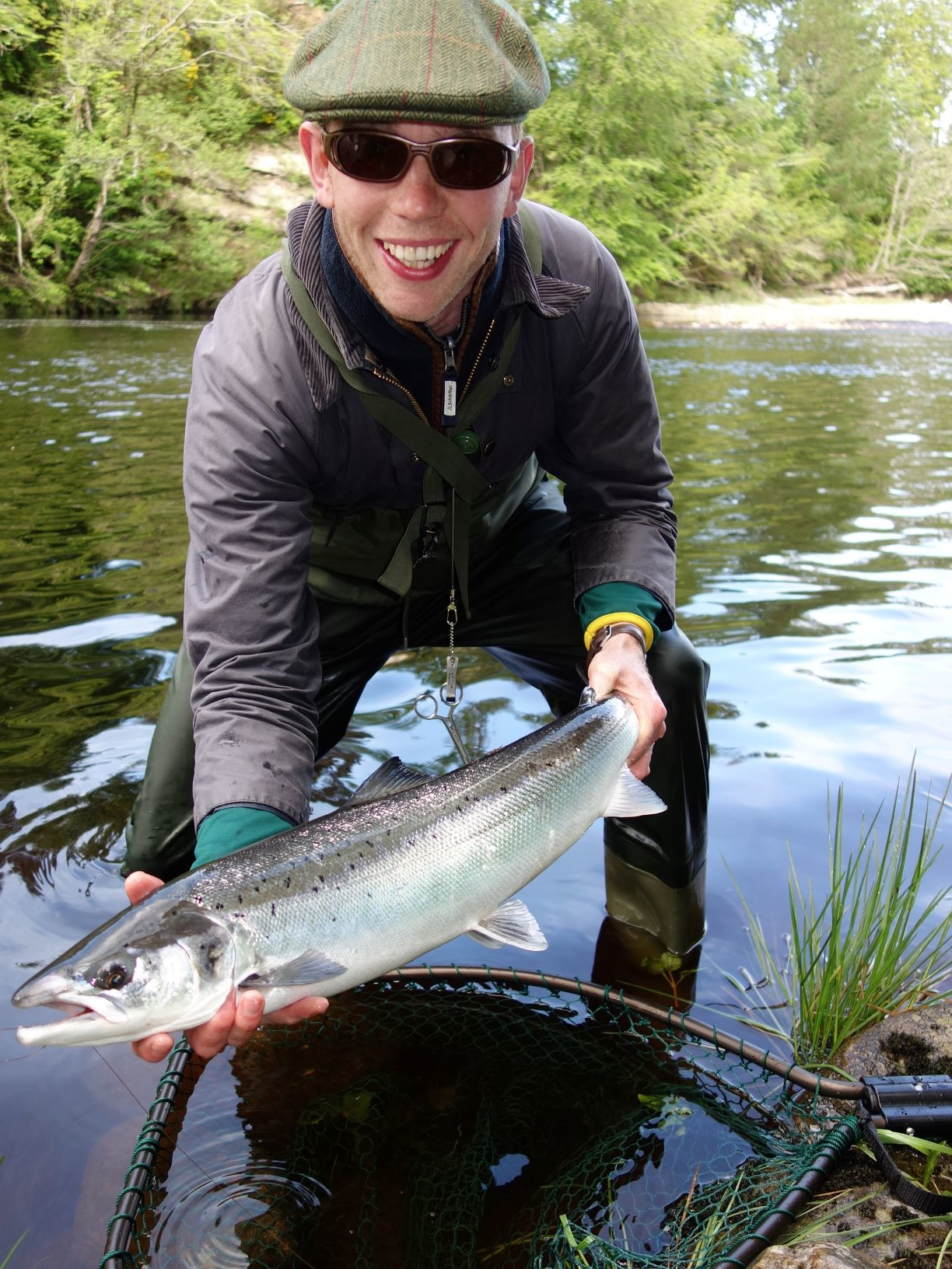 Fred Wheeler-Booth with his first River Findhorn salmon of around 8 lbs. from Roehillock Pool, Altyre Estate