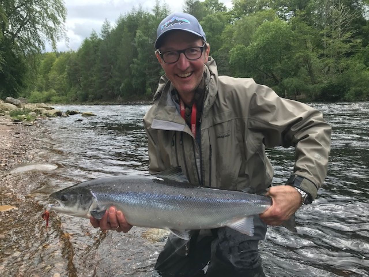 Justus Wehmer with his first Findhorn Spring salmon of around 12 lbs., Palamore, Altyre Estate, River Findhorn