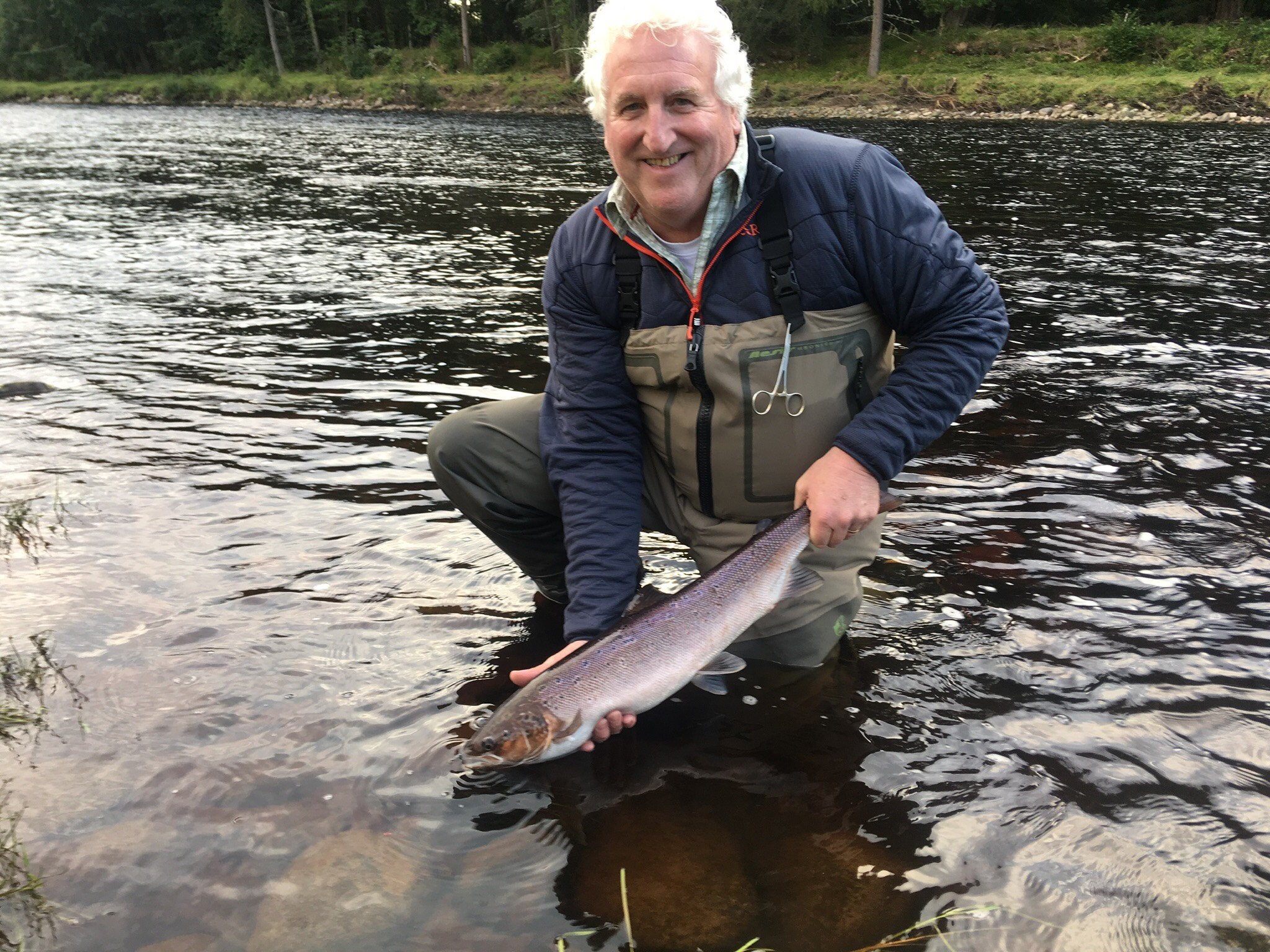 Tam Brown, looking happy with his 7 lb. fish from Garden Pool on Altyre Estate, River Findhorn